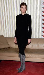 A pair of stylish gray suede boots broke up Vittoria Puccini's black ensemble at the 'Baciami Ancor' photo-call in Milan.