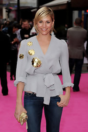 Jenni Falconer wore a beautiful grey wrap top with gold sequin embellishments to the UK premiere of 'The Back-Up Plan.'