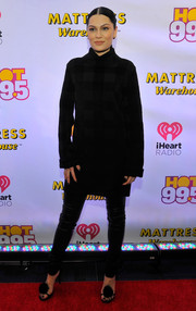 Jessie J donned a subtly checkered turtleneck and black leather skinnies for Hot 99.5's Jingle Ball.