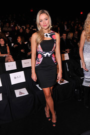 Katrina Bowden was sexy-chic in a cutout dress with tribal-print panels during the Badgley Mischka fashion show.