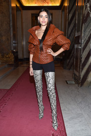 Madison Beer rocked a studded and quilted leather jacket by Balmain during the label's fashion show.