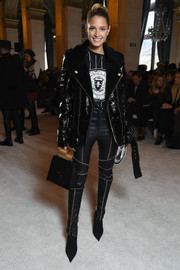 Helena Bordon topped off her tough-glam ensemble with a patent moto jacket, also by Balmain.