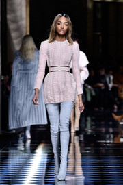 Jourdan Dunn's pastel-blue thigh-high boots made a nice contrast to her pink dress.