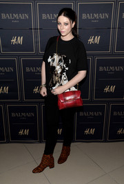 Michelle Trachtenberg was casual in a dog-print tee and black pants while attending the Balmain x H&M Los Angeles pre-launch.