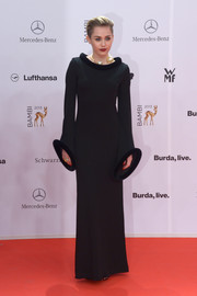Miley Cyrus looked avant-garde at the Bambi Awards in a vintage black Jean Paul Gaultier evening dress.