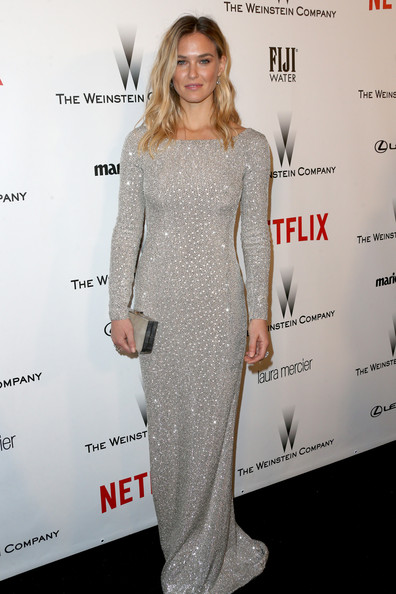 Bar Refaeli Beaded Dress [clothing,dress,shoulder,cocktail dress,hairstyle,premiere,fashion,carpet,fashion model,red carpet,bar refaeli,model,beverly hills,california,weinstein company,netflix,party,golden globes,robinsons may,arrivals]
