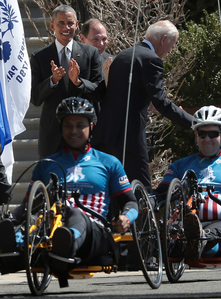 Obama and Biden Welcome Wounded Warrior Project's  Soldier Ride To White House