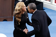 Beyonce Knowles looked exquisite for her performance at the President's inauguration in this black velvet burnout gown.