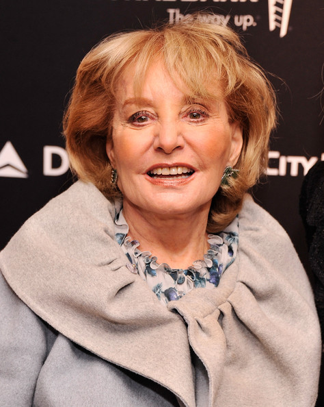 Barbara Walters Bob [reporters,barbara walters,people,journalist,the hollywood reporters 35 most powerful people in media,media,hair,face,hairstyle,blond,chin,lip,forehead,smile,brown hair,feathered hair,hollywood,grill room,new york city,four seasons]