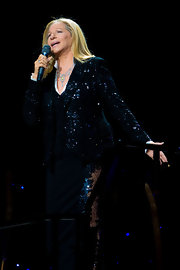 Barbra doubled on sequins in this shimmering blazer and vest on stage.