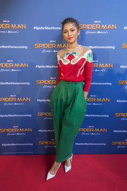 Zendaya Coleman cut a colorful figure in a patterned sweater by Delpozo at the 'Spider-Man: Homecoming' photocall in Barcelona.