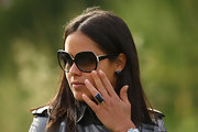 Ana Ivanovic accessorized with a black cocktail ring and matching earrings at the Barclays Scottish Open.