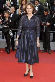 Jacqueline Bisset kept it classic in a navy lace-bodice shirtdress at the Cannes Film Festival screening of 'Based on a True Story.'