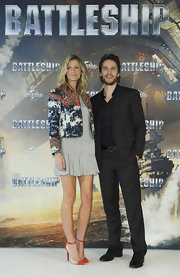 Brooklyn Decker wore a pair or orange and clear heels with sexy ankle straps while at a photocall for 'Battleship.'
