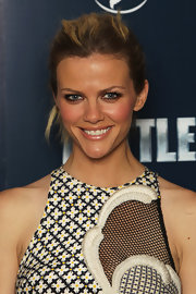 Brooklyn Decker added a touch of pearly nude gloss to her radiant look at the London premiere of 'Battleship.'