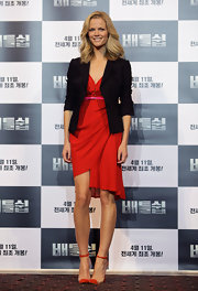 Brooklyn Decker wore this draped asymmetrical red dress to the 'Battleship' press conference in South Korea.