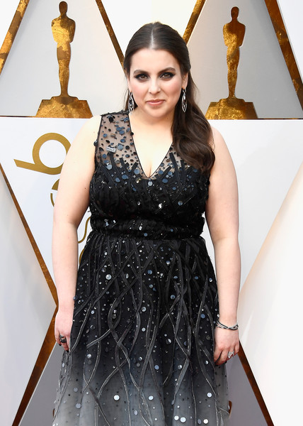 Beanie Feldstein Gemstone Bracelet [dress,clothing,cocktail dress,little black dress,fashion,fashion model,fashion design,carpet,flooring,haute couture,arrivals,beanie feldstein,academy awards,hollywood highland center,california,90th annual academy awards]