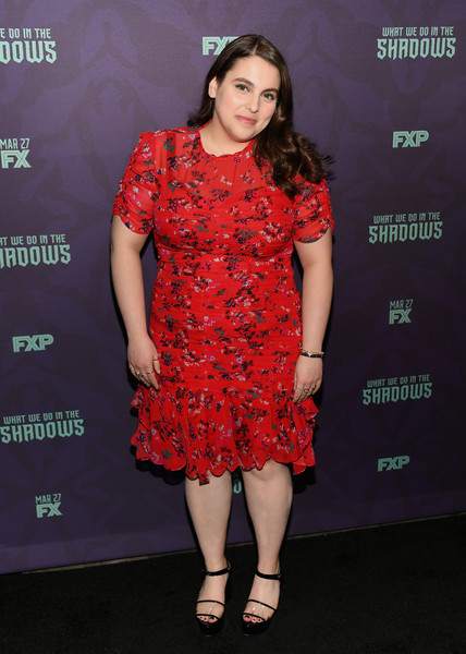 Beanie Feldstein Platform Sandals [what we do in the shadows,clothing,fashion model,cocktail dress,red,dress,fashion,carpet,flooring,premiere,fashion design,beanie feldstein,new york city,metrograph,new york premiere]