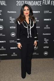 Salma Hayek kept it casual and cute in a black Gucci cardigan with silver trim at the Sundance premiere of 'Beatriz at Dinner.'