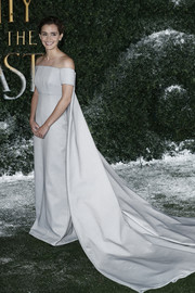 Emma Watson took our breath away with this pearl-gray off-the-shoulder gown by Emilia Wickstead at the 'Beauty and the Beast' UK launch event. Totally princess-worthy!