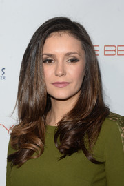 Nina Dobrev was sweetly coiffed with this loose side-parted 'do with curly ends during the 'Beauty Book for Brain Cancer' edition 2 launch party.