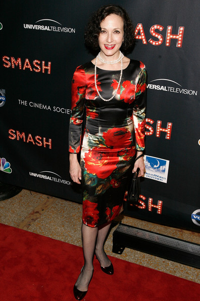 Bebe Neuwirth Print Dress [nbc entertainment the cinema society with volvo host the world premiere of ``smash,smash,clothing,carpet,red carpet,premiere,dress,cocktail dress,flooring,event,fashion design,arrivals,bebe neuwirth,new york city,metropolitan museum of art,nbc entertainment cinema society,volvo,premiere]