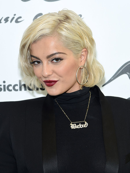 Bebe Rexha Name Pendant Necklace [bebe rexha,hair,blond,face,hairstyle,lip,eyebrow,beauty,chin,lady,shoulder,new york city,music choice]