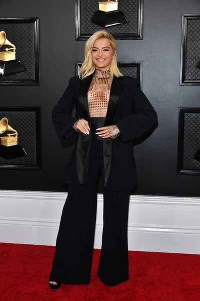 Bebe Rexha Pantsuit [red carpet,carpet,clothing,suit,flooring,fashion,formal wear,pantsuit,tuxedo,dress,arrivals,bebe rexha,staples center,los angeles,california,annual grammy awards,celebrity,red carpet,pantsuit,socialite,tuxedo m.,carpet,tuxedo,red]