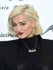 A pair of classic gold hoops topped off Bebe Rexha's look.