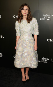 Keira Knightley stunned in a pastel Chanel Couture dress featuring a sequin top, corseted waist and a feathery skirt at the Tribeca Film Festival premiere of 'Begin Again.'