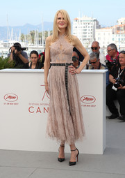 Nicole Kidman looked ultra girly in a dusty-pink halter dress by Alexander McQueen at the Cannes Film Festival photocall for 'The Beguiled.'