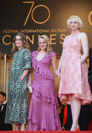 Gwendoline Christie attended the Cannes Film Festival screening of 'The Beguiled' looking sweet in a floral-embroidered pink halter dress.