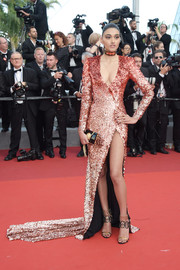 Neelam Gill was sultry and sparkly in an ombre Balmain sequin gown with a plunging neckline and a leg-flaunting slit at the Cannes Film Festival screening of 'The Beguiled.'