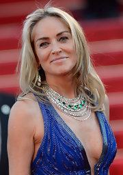 Sharon Stone's long layers added a playful and youthful touch to the star's look.
