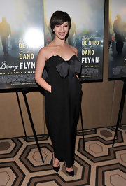 Olivia Thirlby looked sweetly romantic in this embroidered black corset dress at the 'Being Flynn' premiere.