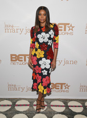 Gabrielle Union was all abloom in a floral-sequined dress by Naeem Khan at the premiere of 'Being Mary Jane.'
