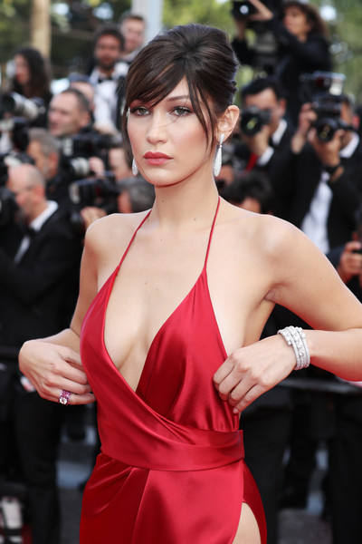 Bella Hadid Diamond Bracelet [the unknown girl,hair,clothing,hairstyle,beauty,shoulder,red carpet,premiere,lady,fashion model,dress,red carpet arrivals - the 69th annual cannes film festival,may 18,model bella hadid,premiere,palais des festivals,cannes,france,cannes film festival]