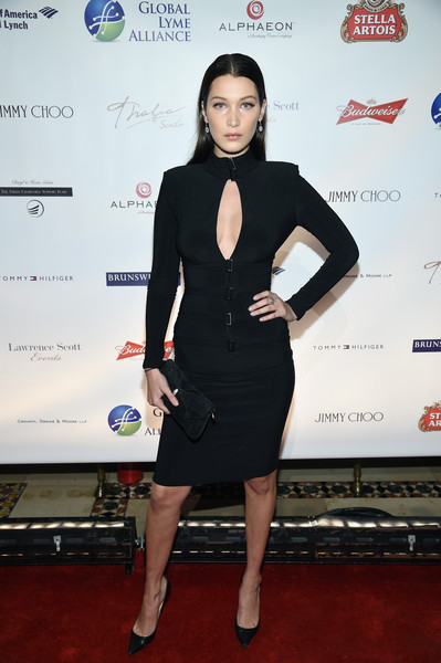 Bella Hadid Suede Clutch [clothing,dress,little black dress,cocktail dress,carpet,red carpet,event,award,fashion accessory,formal wear,global lyme alliance - uniting for a lyme-free world inaugural gala,global lyme alliance,cipriani 42nd street,new york city,lyme-free world,bella hadid]