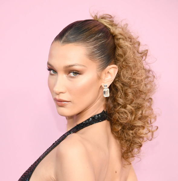 Bella Hadid Dangling Diamond Earrings [hair,hairstyle,eyebrow,beauty,blond,chin,long hair,black hair,forehead,human,arrivals,bella hadid,cfda fashion awards,new york city]