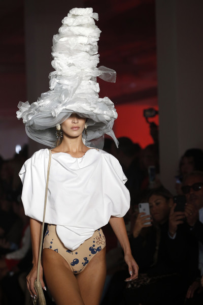 Bella Hadid Decorative Hat [white,fashion,clothing,fashion show,runway,fashion model,shoulder,model,fashion design,fun,bella hadid,part,runway,summer 2020,paris,france,vivienne westwood womenswear spring,paris fashion week,show]