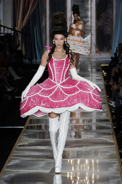 Bella Hadid Mini Dress [fashion model,fashion,pink,fashion show,clothing,haute couture,runway,dress,fashion design,hoopskirt,bella hadid,part,moschino - runway,runway,milan,italy,moschino,milan fashion week,fashion show,milan fashion week fall,runway,fashion show,fashion,haute couture,supermodel,model,socialite,pink m,gown,two pence]