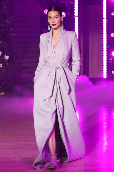 Bella Hadid Wrap Dress [fashion model,fashion,haute couture,clothing,fashion show,purple,violet,event,fashion design,public event,bella hadid,brandon maxwell - runway,runway,brandon maxwell fall winter 2018 collection,new york city,appel room,new york fashion week]