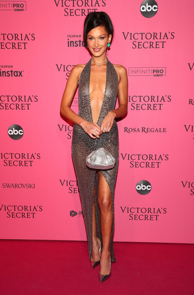 Bella Hadid Metallic Purse [clothing,red carpet,fashion model,hairstyle,fashion,dress,leg,carpet,shoulder,premiere,bella hadid,new york,party arrivals,victorias secret fashion show,victorias secret fashion show after party]