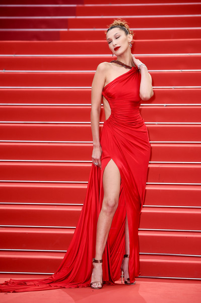 Bella Hadid Evening Sandals [dress,clothing,fashion model,shoulder,red,cocktail dress,gown,joint,bridal party dress,beauty,bella hadid,dolor y gloria,douleur et glorie,screening,cannes,france,red carpet,the 72nd annual cannes film festival]
