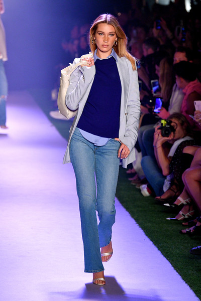 Bella Hadid Bootcut Jeans [shows,the shows,fashion,runway,fashion show,fashion model,clothing,public event,event,electric blue,cobalt blue,fashion design,brandon maxwell,bella hadid,brandon maxwell - runway,runway,new york city,new york fashion week]