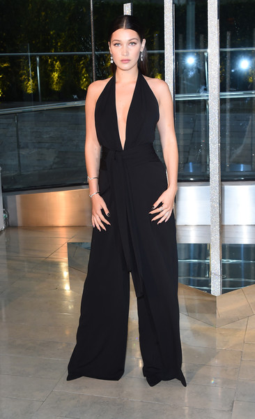 Bella Hadid Jumpsuit [clothing,fashion model,fashion,haute couture,dress,fashion show,shoulder,neck,event,formal wear,bella hadid,cocktails,alice tully hall,new york city,lincoln center,cfda fashion awards]