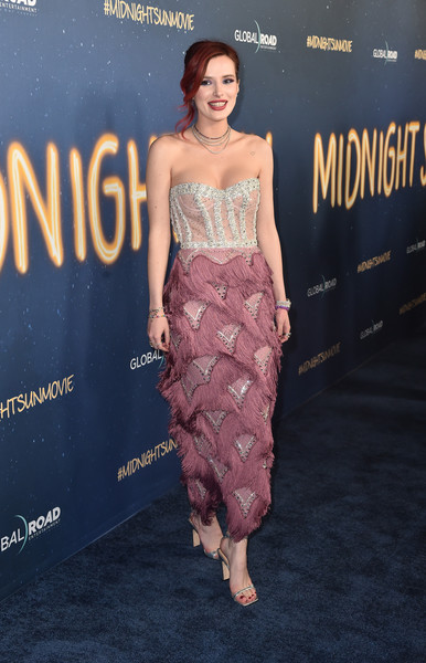 Bella Thorne Evening Sandals [clothing,dress,shoulder,fashion model,premiere,fashion,hairstyle,red carpet,carpet,cocktail dress,arrivals,bella thorne,midnight sun,arclight hollywood,california,global road entertainment,premiere,world premiere]