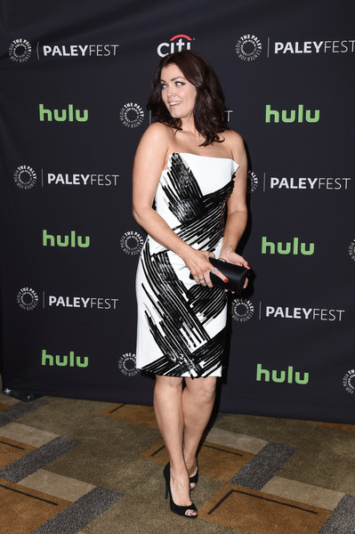 Bellamy Young Peep Toe Pumps [clothing,dress,cocktail dress,little black dress,premiere,strapless dress,style,bellamy young,arrivals,scandal,los angeles,dolby theatre,california,hollywood,paley center for media,paleyfest]