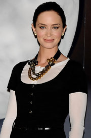 Emily Blunt added a nice touch to her look with a beaded statement neckalce.