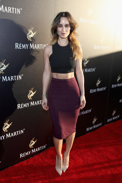 Berenice Marlohe Crop Top [the exceptional,clothing,dress,red carpet,fashion,waist,shoulder,crop top,carpet,pencil skirt,flooring,remy martin hosts a special evening with jeremy renner,berenice marlohe,remy martin,west hollywood,california,eric buterbaugh floral,fetty wap celebrating the exceptional]